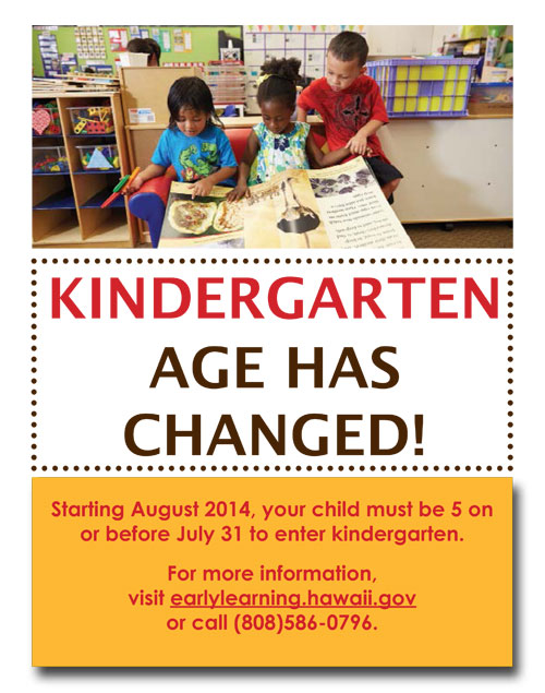 Starting 8/2014 your child must be 5 years old before starting Kindergarten